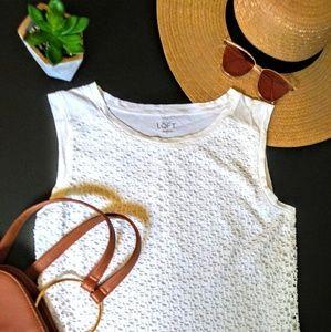 LOFT Crisp White Sleeveless Crochet Overlay Top